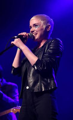Niamh Farrell of Ham Sandwich in the spotlight at the Rock Against Homelessness concert