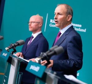 Health Minister Stephen Donnelly and Taoiseach Micheál Martin announce the measures after a surge in cases