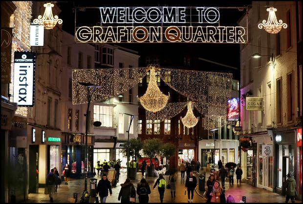The new illuminated sign greeting festive shoppers in Grafton Street this year. Photo: Steve Humphreys