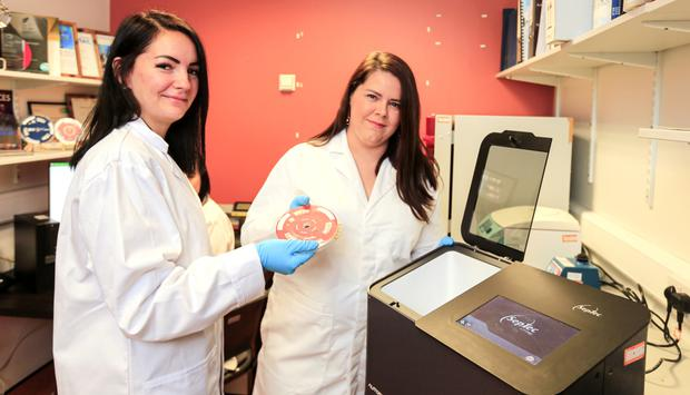 Dr. Kellie Adamson and Dr. Elaine Spain in the National Centre for Sensor Research in DCU