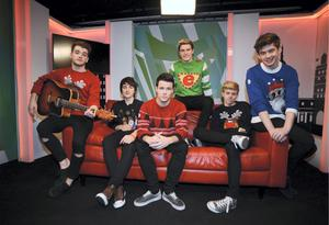 Members of the Boy band 'Hometown' in studio to promote Panto 'Aladdin' l-r; Ryan McLoughlin, from Newbridge, Kildare, Brendan Murray, from Tuam, Galway, Dayl Cronin, from Clonmel, Tipperary, Dean Gibbons, from Tallaght, Dublin, Josh Gray, from Blessington, Wicklow,