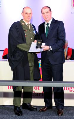 Cpl James Cunningham with Minister for State Paul Kehoe T.D