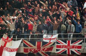 Nazi salutes among the England fans in the Lansdowne Road riot of 1995