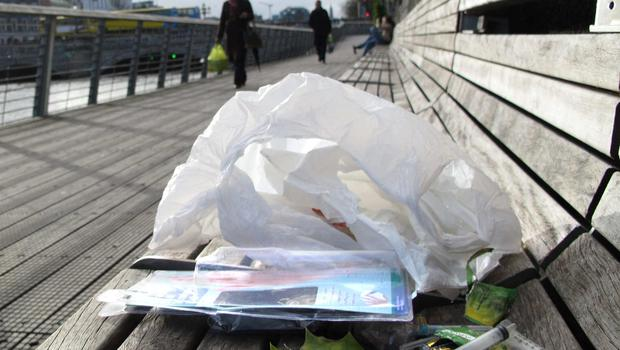 Drugs paraphenalia on a bench at the boardwalk on O'Connell st