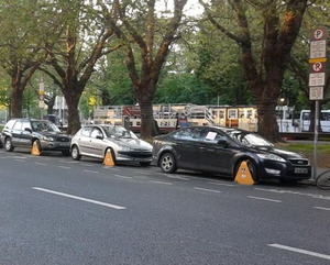Vehicles clamped all along Grand Canal