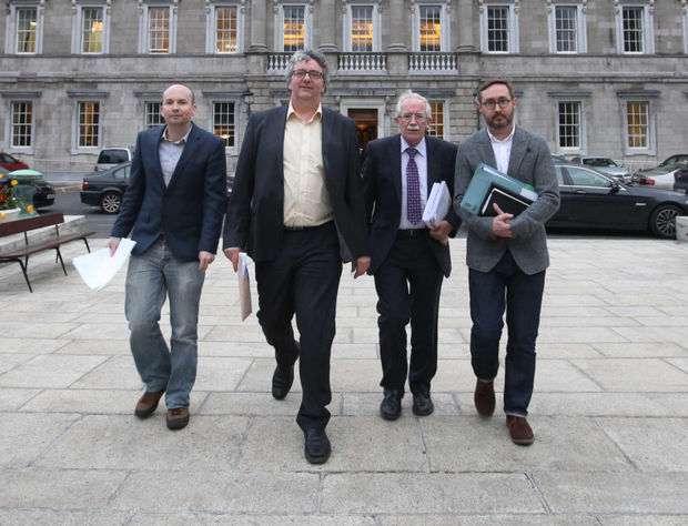 Paul Murphy (left) with fellow Right 2 Water TDs at Leinster House. Photo: Sam Boal/Rollingnews.ie