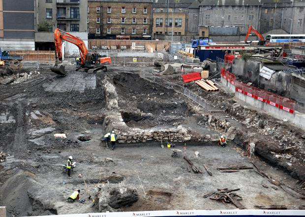The massive stone structure found on the former Apollo House site in Dublin