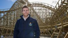 Charles Coyle at Tayto Park, Co. Meath in front of the new rollercoaster