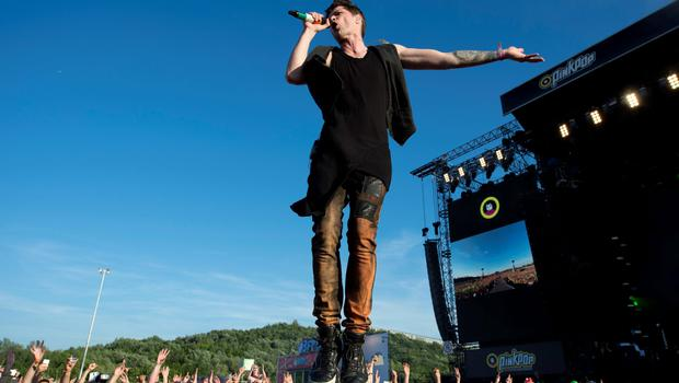 The Script rock band vocalist, Irish Danny O'Donoghue performs during the second day of the of the Pinkpop Music Festival