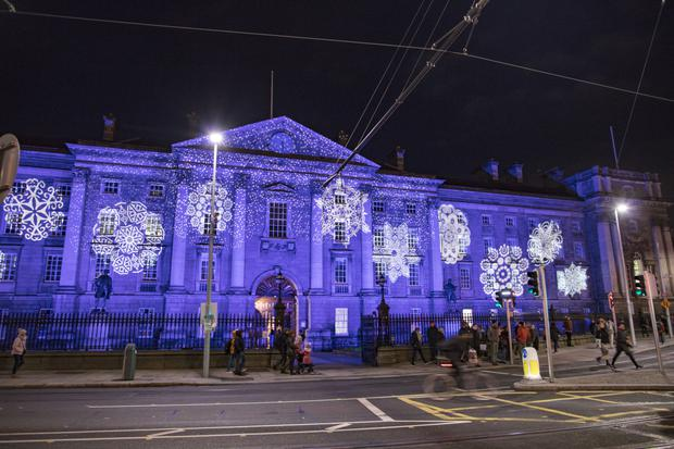 Trinity College (pictured) and City Hall are among the landmarks lit up as part of the Winter Lights initiative
