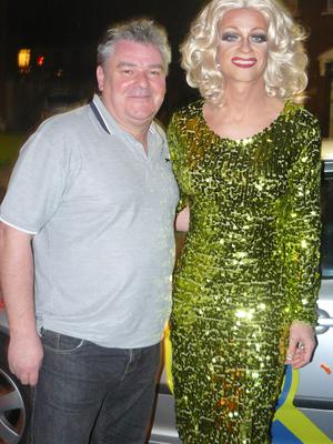 Taxi driver Declan Scully with passenger Panti Bliss