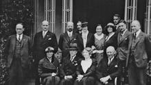 Adolf Mahr (on extreme left) at a party meeting in Dublin to mark the birthday of Col Fritz Brase (seated centre) on May 4 1935. Brase, a Nazi party member, was director of the Irish Army's school of music