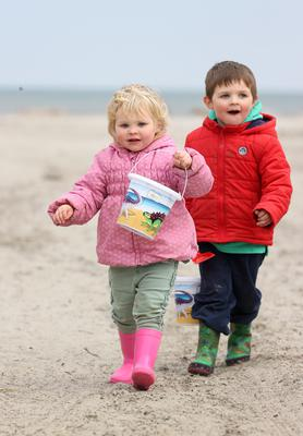 Clodagh Kelly, from Santry, with brother Sean on Dollymount Strand