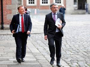 Fianna Fail's Michael McGrath and Dara Calleary arrive for a Cabinet meeting yesterday