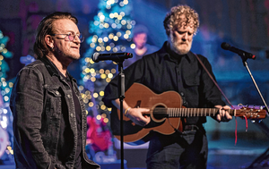 Bono and Glen Hansard perform a piece on the special Late Late Show busk for Simon last night. They kept a 10-year tradition going despite the Covid pandemic