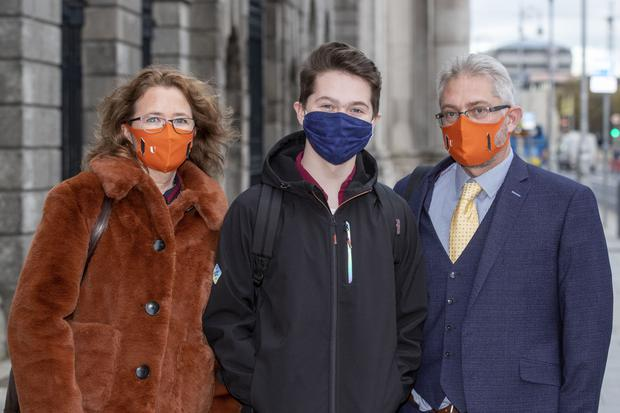 Benjamin Blackwell (C), pictured outside court yesterday with his parents Natalie and James Blackwell