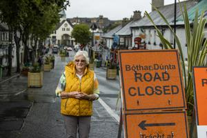 Local woman Mary Lynch on New Street, Malahide, which has been closed to traffic and bicycles since June