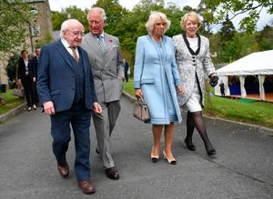 The Prince of Wales and the Duchess of Cornwall, accompanied by the President of Ireland and his wife Sabina Coyne, visit Glencree Peace and Reconciliation Centre in Glencree, Co Wicklow