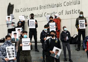 Supporters at the protest outside the Criminal Courts of Justice