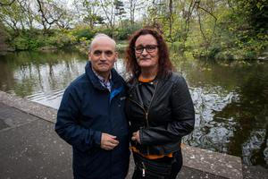 Rescue Reunion on St. Stephen's Green Pond. Martin Coffey and Anne Byrne.