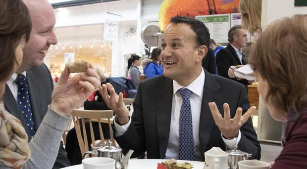 Taoiseach Leo Varadkar chats to Phil Nolan and Marie O'Keeffe at Omni Shopping Centre in Santry