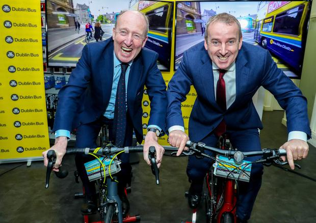 Minister for Transport Shane Ross and Dublin Bus CEO Ray Coyne at the launch of a new driver training initiative last week