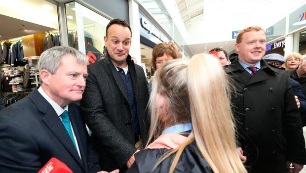 Taoiseach Leo Varadkar meets people while on a general election campaign trail at Crescent Shopping Centre in Limerick City
