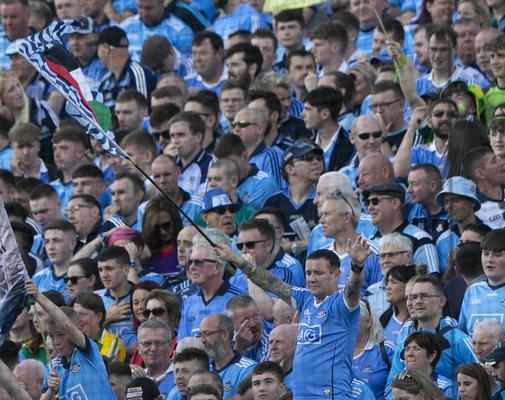 Supporters on Hill 16 in Croke Park cheer on the Boys in Blue