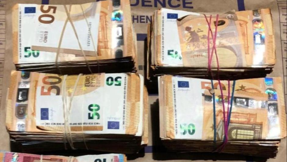 Some of the cash seized by gardaí in Coolock on Saturday