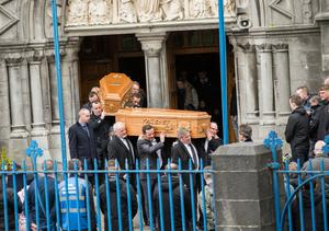 The scene at Sligo Cathedral as mourners gathered to remember Christopher 'Sunny' Harte and his son Sean