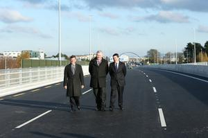 Pictured at the opening was  Minister for Transport, Tourism and Sport, Paschal Donohoe T.D (right) with  Theo Cullinane, BAM Group Ireland Chief Executive (centre) and Fred Barry National Roads Authority (left). The new flyover, which facilitates nationwide travel from the North to the South of Ireland without any traffic lights, was officially opened today by Minister for Transport, Tourism and Sport, Paschal Donohoe T.D.