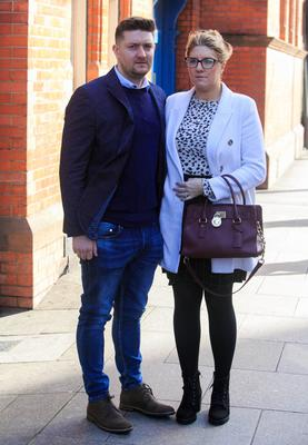 Simon and Sorcha McMahon at the preliminary hearing into the death of their tragic baby boy Henry John
