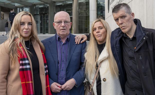 Amanda Carroll's family; Sandra, her sister, Willie, her father, Antoinette, her sister, and Willie Jr., her brother, outside court after Sean Nolan was sentenced to life in prison for murdering Amanda
