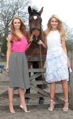 Kerrie Blance and Aoife Walsh launch the best dressed contest at Punchestown