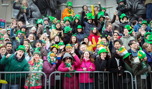 Spectators watching the 2017 St Patrick's Day parade in Dublin