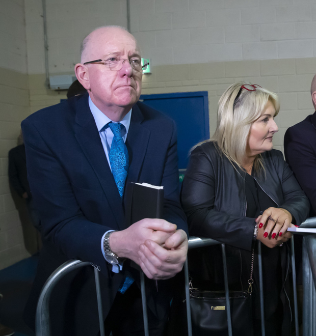 Justice Minister Charlie Flanagan and Fine Gael candidate Verona Murphy during the Wexford by-election count, which was eventually won by Malcolm Byrne of Fianna Fail