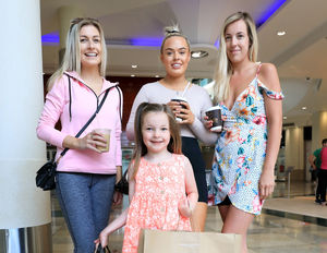 Larragh Lawlor (5) with her mum Naoise, Katie Blanche and Orlagh Carty. Photo: Frank McGrath