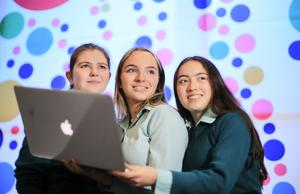 Ciara McCormick, Alice Maddock and Katie Shaw check their project