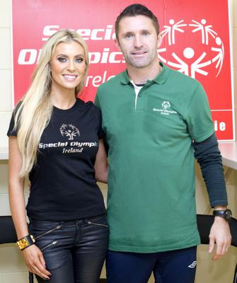 Irish captain Robbie Keane and his wife Claudine attended a training session for Special Olympic football athletes at Crumlin United FC's grounds yesterday.