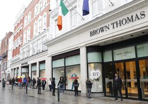 People queue outside Brown Thomas
