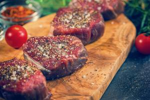 Fillet steaks used in cooking classes