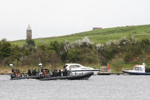 Police and emergency services at the scene of the boating accident at Devenish Island, near Enniskillen