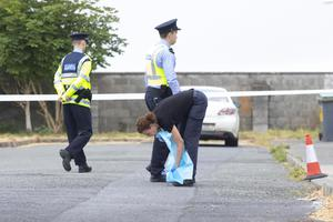 Gardai examine the scene of the incident in Dunmore East, Co Waterford where Jack Power, was stabbed to death