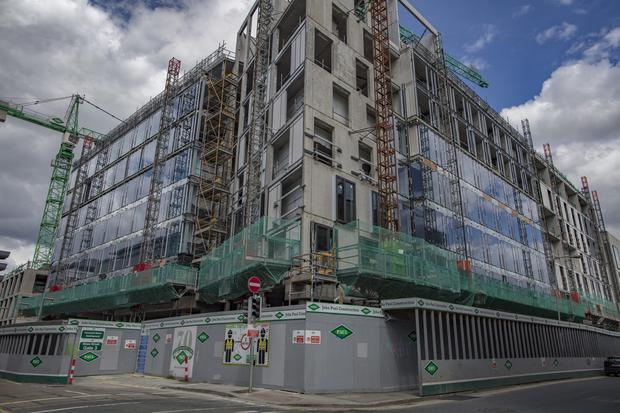 The building site on Dublin's Townsend Street has been shut down after numerous workers tested positive for Covid-19