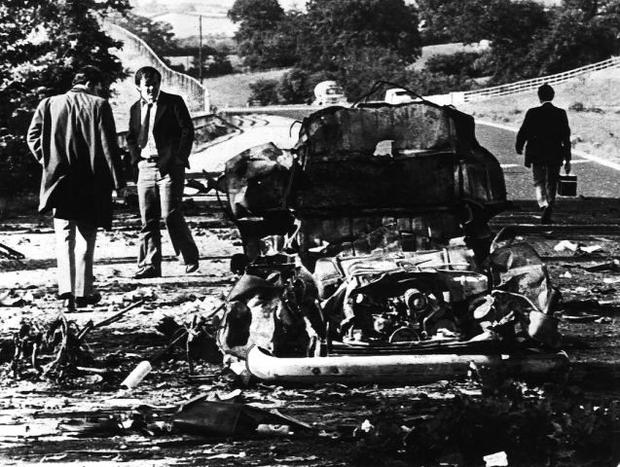 The wreckage of the mini bus the Miami showband were travelling in
