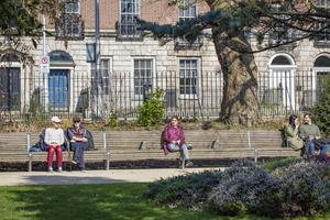 People keep their distance in Merrion Square
