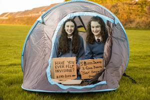 Faye Murphy and Emma Greaney, from Desmond College in Limerick, with their pop-up sleep pod for the homeless