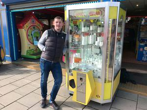 Eddy Chapman, who runs Chapmans Funland in Bridlington, has made the most of the national stockpiling trend by filling up one of its grabber machines with toilet rolls