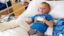 Noah Rae Kenna (5) is recovering from his injuries
