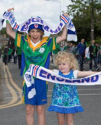 English fans Rory Aslin age 8 with his sister Robyn from England now living in Dublin, going to the international Friendly Republic of Ireland vs England at Aviva Stadium today